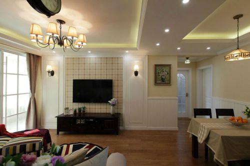 美式田园风格二居室客厅装修图片