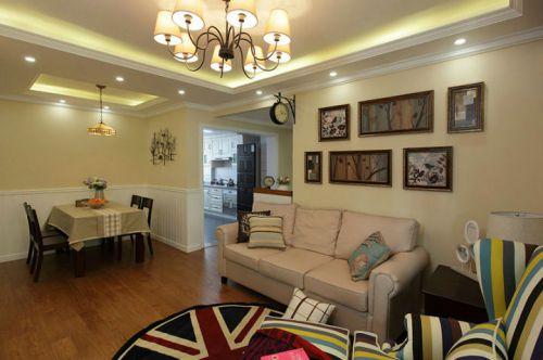 美式田园风格二居室客厅装修效果图