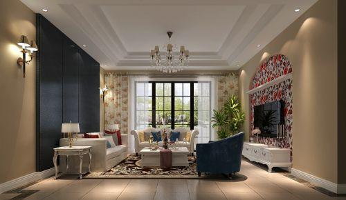 简约美式四居室客厅沙发装修图片