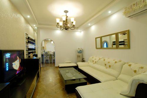 现代美式风格三居室客厅背景墙装修效果图