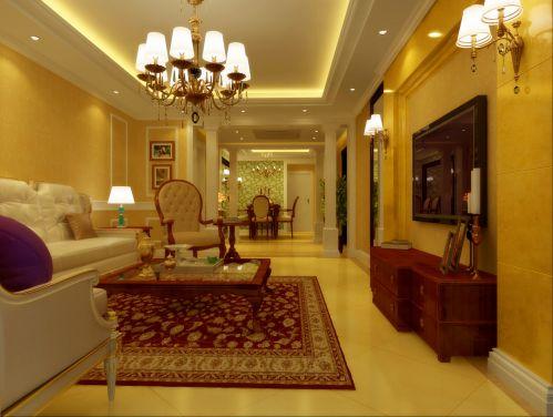 现代美式三居室客厅装修图片