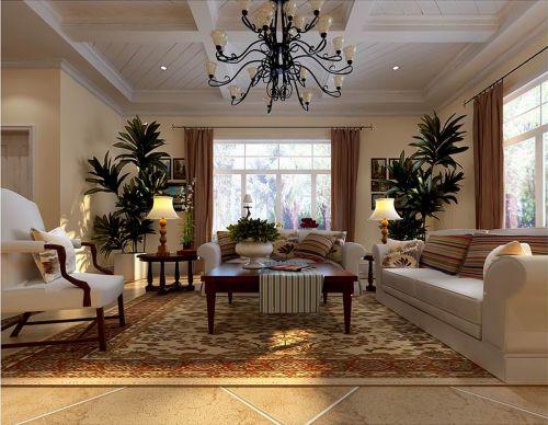 美式风格三居室客厅吊顶装修效果图