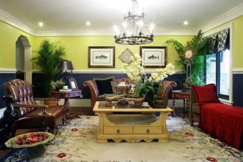 美式乡村三居室客厅装修效果图