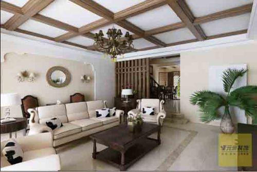 美式风格四居室客厅吊顶装修效果图大全