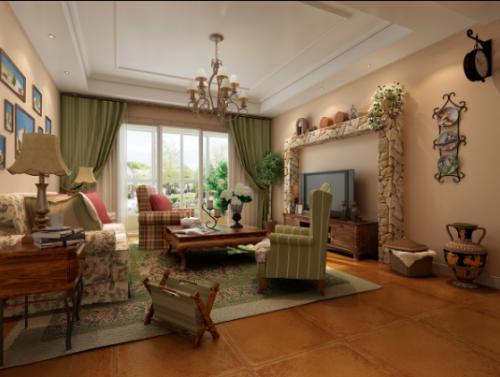 简约美式二居室客厅装修图片
