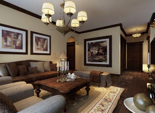 美式乡村四居室客厅装修效果图大全