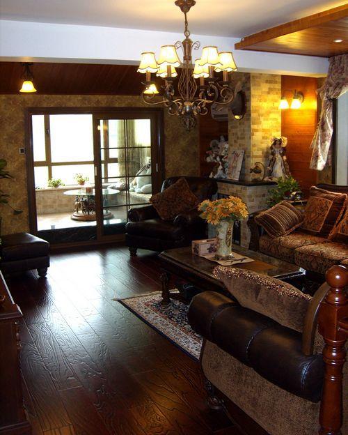 美式乡村风格三居室客厅装修效果图大全