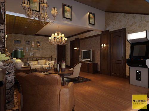 美式乡村三居室客厅装修效果图大全