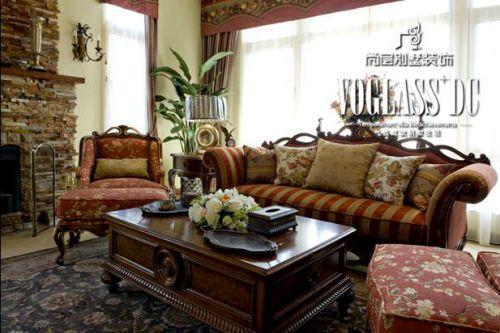 美式乡村五居室客厅装修效果图欣赏