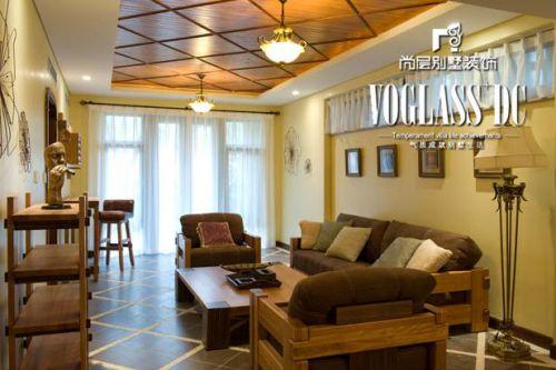 美式乡村五居室客厅装修效果图