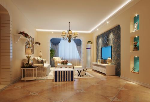 美式四居室客厅装修效果图欣赏