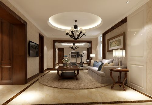 美式别墅客厅装修图片欣赏