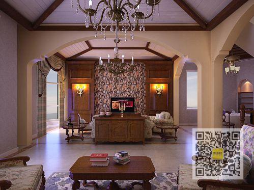 美式乡村四居室客厅装修效果图