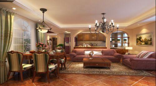 美式田园风格二居室客厅装修效果图欣赏