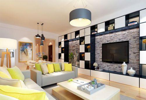 韩式风格三居室客厅背景墙装修效果图大全