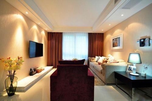 韩式风格二居室客厅背景墙装修效果图欣赏