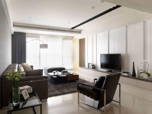 韩式风格二居室客厅影视墙装修效果图欣赏