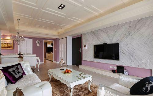 韩式风格客厅小清新粉色背景墙装修效果图