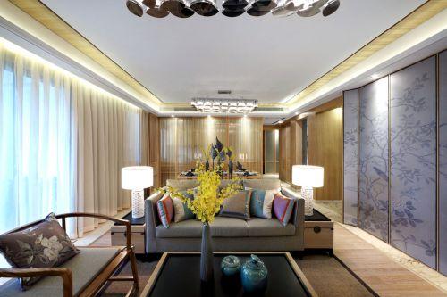 三居室韩式风格客厅落地窗装修设计