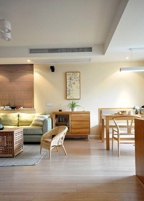 韩式风格客厅原木色格调效果图大全