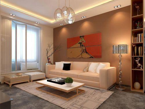简约日式风格四居室客厅沙发特效欣赏