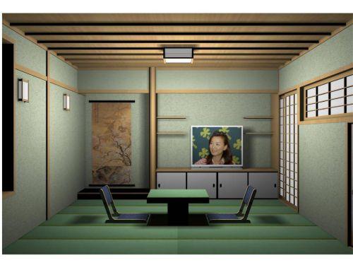 绿色日式风格客厅装修设计图