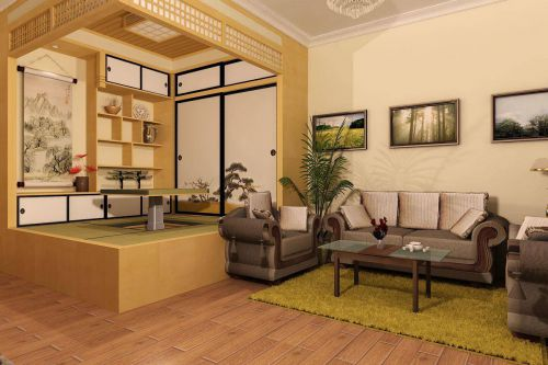 日式风格清秀客厅榻榻米装修设计图