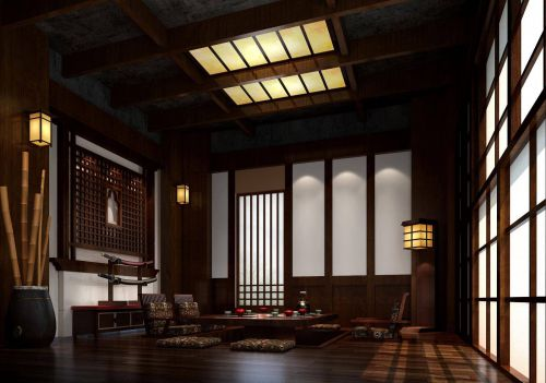 韩式风格公寓客厅木制吊顶装修效果图