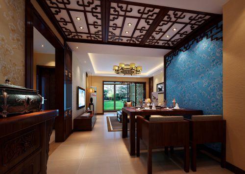 东南亚风格三居室客厅背景墙装修图片