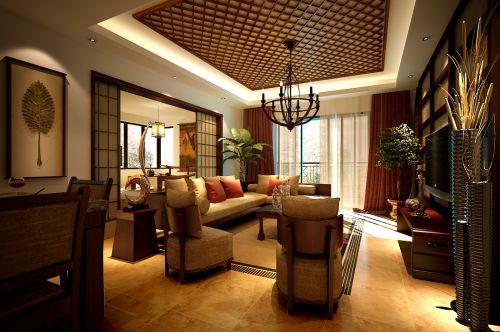原木色东南亚风别墅客厅格栅吊顶效果图