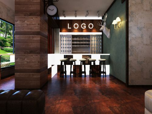 232平东南亚风格别墅玻璃透明吧台效果图