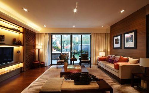 东南亚风别墅客厅布艺沙发装修效果图