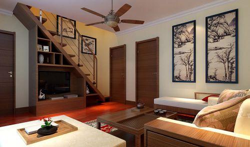 东南亚风格客厅木质楼梯设计效果图
