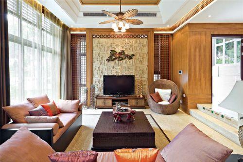 东南亚风格客厅电视背景墙沙发装修效果图