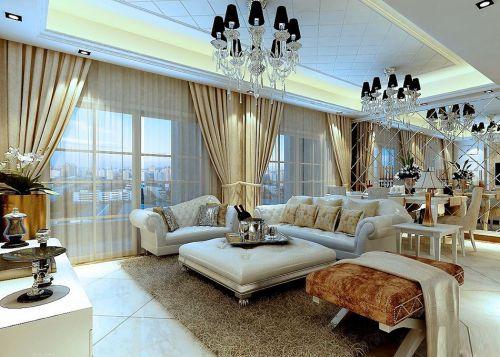 大气东南亚客厅窗帘搭配装修效果图