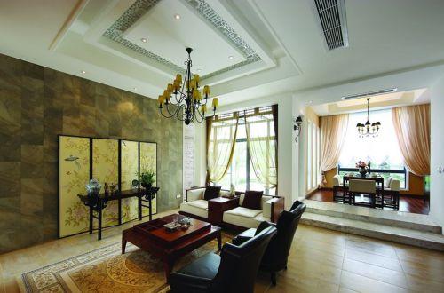 东南亚风格别墅客厅白色吊顶装修效果图