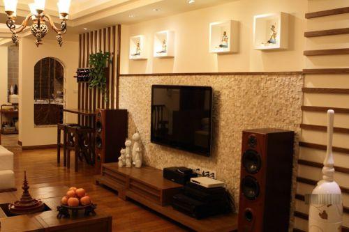 东南亚风格三居室客厅电视柜装修效果图大全