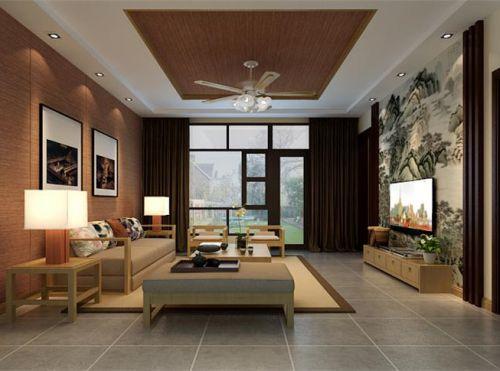 东南亚风格三居室客厅吊顶装修效果图大全