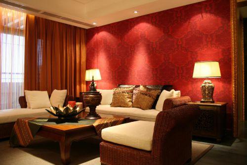 东南亚风格客厅暗红色背景墙效果图