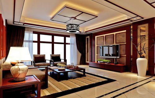 东南亚风格豪华客厅电视背景墙效果图