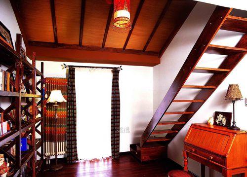 东南亚风格别墅客厅原木色楼梯效果图