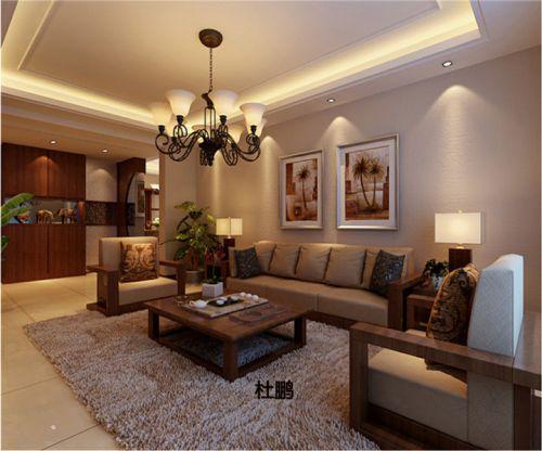 东南亚风格三居室客厅背景墙装修效果图