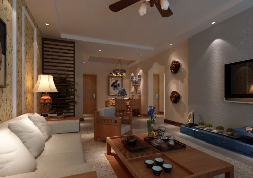 东南亚风格三居室客厅隔断装修效果图欣赏