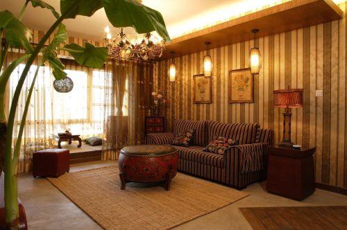 129平东南亚风格三居迷人客厅装修效果图