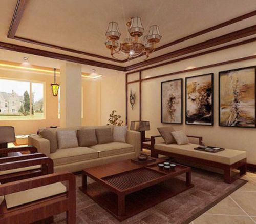 东南亚风格四居室客厅吊顶装修图片