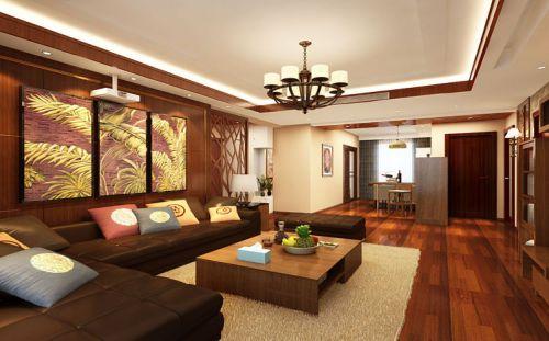 东南亚风格三居室客厅背景墙装修效果图欣赏