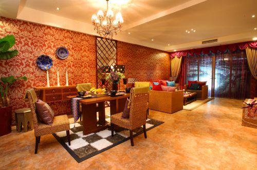 三居室东南亚风格橙色客厅装修效果图