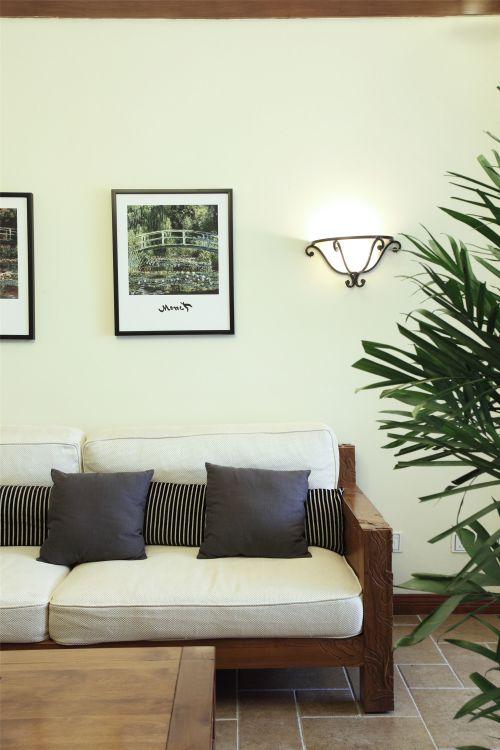 自然清新东南亚风格客厅装修实景图