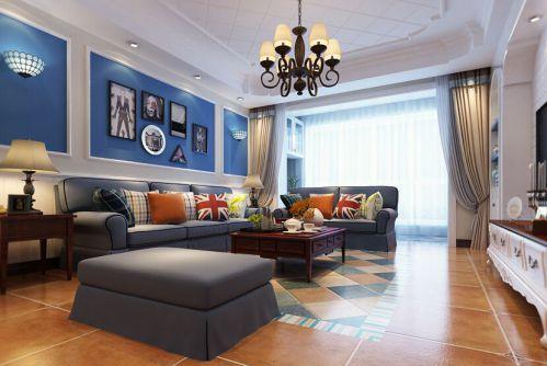东南亚风格四居室客厅背景墙装修效果图欣赏