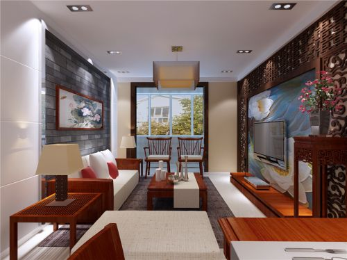 东南亚风格三居室客厅照片墙装修图片